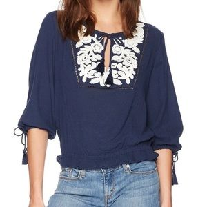 NWT Lucky Brand Embroidered Peasant Blouse